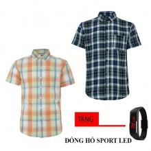 Bộ 2 áo sơ mi ngắn tay sọc caro thời trang tặng kèm đồng hồ Sport Led MSMI8330