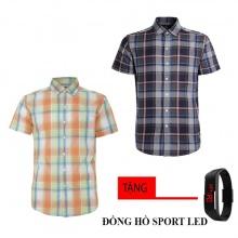 Bộ 2 áo sơ mi ngắn tay sọc caro thời trang tặng kèm đồng hồ Sport Led MSMI8332