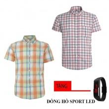 Bộ 2 áo sơ mi ngắn tay sọc caro thời trang tặng kèm đồng hồ Sport Led MSMI8333