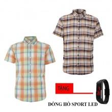 Bộ 2 áo sơ mi ngắn tay sọc caro thời trang tặng kèm đồng hồ Sport Led MSMI1934