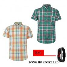 Bộ 2 áo sơ mi ngắn tay sọc caro thời trang tặng kèm đồng hồ Sport Led MSMI8339