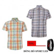 Bộ 2 áo sơ mi ngắn tay sọc caro thời trang tặng kèm đồng hồ Sport Led MSMI1920