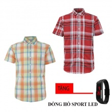 Bộ 2 áo sơ mi ngắn tay sọc caro thời trang tặng kèm đồng hồ Sport Led MSMI1903