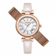 Đồng hồ nữ JS-016 Julius Star Hàn Quốc dây da tặng kèm 1 dây thép