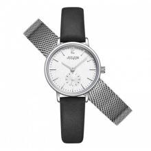 Đồng hồ nữ JS-011 Julius Star Hàn Quốc dây da tặng kèm dây thép