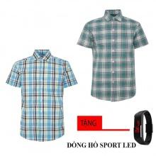 Bộ 2 áo sơ mi ngắn tay sọc caro thời trang tặng kèm đồng hồ Sport Led MSMI2532