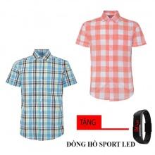 Bộ 2 áo sơ mi ngắn tay sọc caro thời trang tặng kèm đồng hồ Sport Led MSMI2507