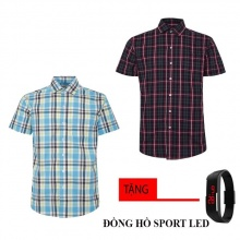 Bộ 2 áo sơ mi ngắn tay sọc caro thời trang tặng kèm đồng hồ Sport Led MSMI2509