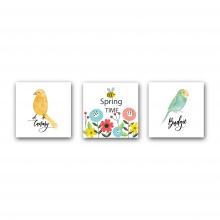 Tranh treo phòng em bé - spring time chim và ong mdf3t3030