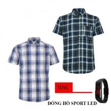 Combo 2 áo sơ mi nam sọc caro Model Fashion cao cấp MSMI8222 (tặng đồng hồ sport led)