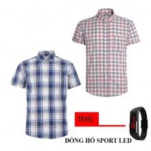 Combo 2 áo sơ mi nam sọc caro Model Fashion cao cấp MSMI8215 (tặng đồng hồ sport led)