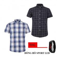 Combo 2 áo sơ mi nam sọc caro Model Fashion cao cấp MSMI8217 (tặng đồng hồ sport led)