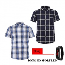 Combo 2 áo sơ mi nam sọc caro Model Fashion cao cấp MSMI8218 (tặng đồng hồ sport led)