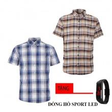 Combo 2 áo sơ mi nam sọc caro Model Fashion cao cấp MSMI8219 (tặng đồng hồ sport led)
