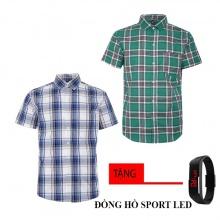 Combo 2 áo sơ mi nam sọc caro Model Fashion cao cấp MSMI8210 (tặng đồng hồ sport led)