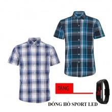 Combo 2 áo sơ mi nam sọc caro Model Fashion cao cấp MSMI8213 (tặng đồng hồ sport led)