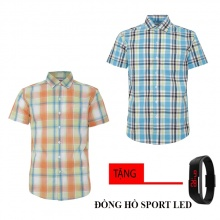 Combo 2 áo sơ mi nam sọc caro Model Fashion cao cấp MSMI8214 (tặng đồng hồ sport led)
