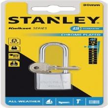Ổ khóa hiệu stanley USA, chrome trắng, càng dài, rộng 30mm- S742-015