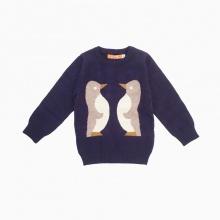 Áo len bé trai hình chim cánh cụt Vinakids màu tím than size 2-10