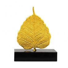 Lá Bồ Đề phong thủy mạ vàng 24K - Quà tặng bình an, may mắn