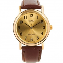 Đồng hồ nam Casio MTP-1095Q-9B1 chính hãng - dây da nâu - mặt vàng