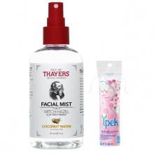 Nước hoa hồng dạng xịt Thayers hương dừa Coconut Water 237ml (dành cho da thường, da khô, da lão hóa) + tặng 1 bông tẩy trang Ipek 80 miếng