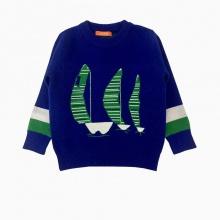 Áo len bé trai thêu thuyền màu xanh coban (5-7 Tuổi)