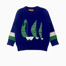 Áo len bé trai thêu thuyền màu xanh coban (1-4 Tuổi)