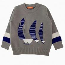 Áo len bé trai thêu thuyền màu xám (1-4 tuổi)