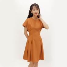 Đầm xòe thời trang Eden tay cánh dơi màu cam - D378