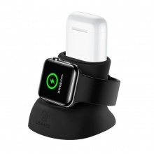 Đế giữ sạc Silicon 2 trong 1 cho Apple Watch và AirPods USAMS US-ZJ051 2IN1 Silicon Charging Holder (Black)