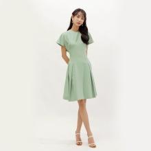 Đầm xòe thời trang Eden tay cánh dơi màu xanh - D378