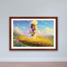 """Tranh phong cảnh """"Cô gái giữa đồng cỏ hoa"""" tranh treo tường W4053"""