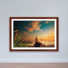 """Tranh phong cảnh """"Chị em gái và mèo nhỏ"""" tranh treo tường W4058"""
