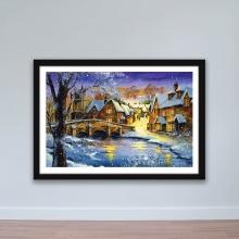 """Tranh trang trí """"Làng tuyết"""" tranh treo tường W4066"""