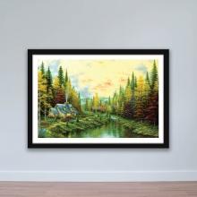 """Tranh trang trí """"nhà nhỏ bên bìa rừng"""" tranh treo tường W4070"""