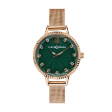 Đồng hồ nữ Mangosteen MS515F Hàn Quốc dây thép (đồng xanh)