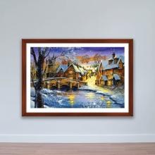 """Tranh trang trí """"Phố mùa đông"""" tranh phong cảnh W4079"""
