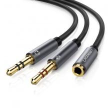 Cáp gộp audio 3.5mm 2 Vào 1 ra ugreen 20899 (mic và headphone)
