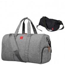 Combo túi xách du lịch thời trang Glado TBG001 (màu xám) và túi đeo chéo GEX005 (màu đen)