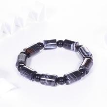 Vòng tay mã não đen đốt trụ 13x10mm mệnh thủy,kim - Ngọc Quý Gemstones