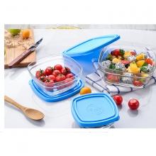 Bộ 3 hộp thực phẩm thủy tinh chịu lực Duralex Pháp Freshbox 3size