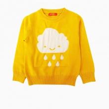 Áo len bé gái thêu hình mây mưa màu vàng