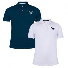 Áo thun nam có cổ polo dokafashion, combo 2 áo logo thêu rất sắc xảo màu xanh cổ vịt, trắng
