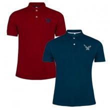 Áo thun nam có cổ polo dokafashion, combo 2 áo logo thêu rất sắc xảo màu đỏ đô, xanh cổ vịt