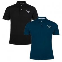 Áo thun nam có cổ polo dokafashion, combo 2 áo logo thêu rất sắc xảo màu đen, xanh cổ vịt