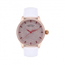 Đồng hồ nữ chính hãng Royal Crown 6118M-ST-RG-B/A-W (dây da trắng vỏ vàng hồng mặt full đá )