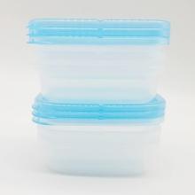 Set 6 hộp nhựa đựng đồ ăn dặm dáng vuông màu hồng và màu xanh