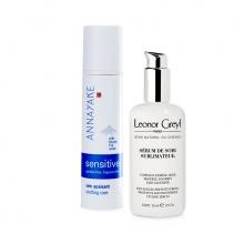 Combo kem dưỡng cung cấp độ ẩm cho da nhạy cảm Annayake và Serum dưỡng suôn mượt tóc 48h, chống tia UV Leonor Greyl