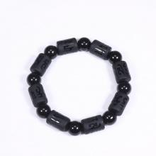 Vòng tay đá obsidian đốt trụ lục tự đại minh chú 13x10mm mệnh thủy, mộc - Ngọc Quý Gemstones